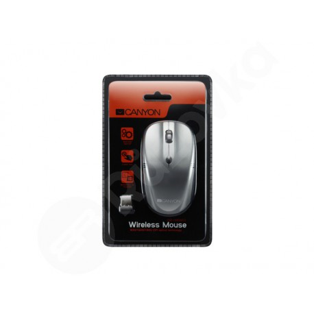 Canyon myš bezdrátová 2.4GHz, 4 tlačítka, DPI 800/1200/1600, lesklá perleťová tmavě