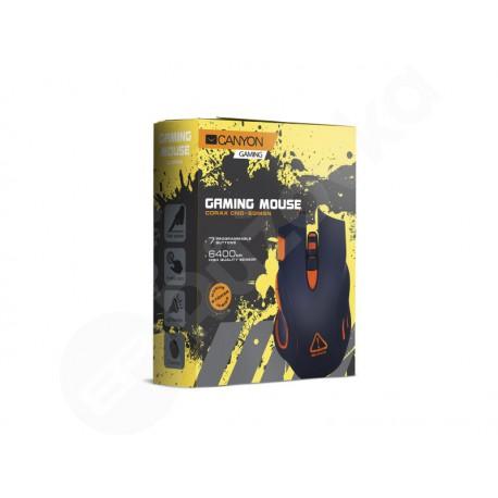 Canyon herní myš Corax, DPI 800/1600/2400/4800/6400, LED podsvícení, černá